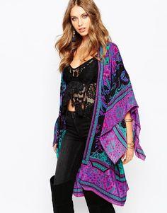 Anna Sui Exclusive Silk Maxi Kimono In Scarf Print