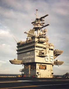 USS Enterprise CVN 65 island | Big E's Island as seen in 1994, with lots of new high-tech gadgets