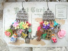 spring mix charm earrings chandelier random by lilyofthevally