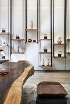 34 Ideas Kitchen Table Metal Window For 2019 Shelving Design, Shelf Design, Shelving Systems, Living Room Shelves, Bedroom Shelves, Wood Bedroom, Bedroom Flooring, Living Rooms, Muebles Living