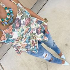 Mint Bejeweled Necklace + Floral Peplum + Distresses Skinnies! As seen on For The Love of Fancy