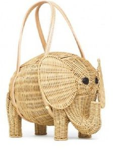67719123910 Elephants are popping up all over fashion and interior decorating. This  Kate Spade wicker elephant bag is too cute!