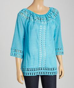 Love this Turquoise Crocheted Tunic - Women by Nicole Sabbattini on #zulily! #zulilyfinds