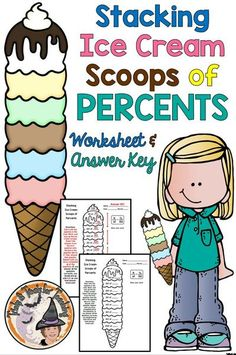 Teachers ~ Your students will LOVE this cute Ice Cream Cone Scoops Stacking Solving Percentages Practice! They start at the bottom (cone) and work the percent problems going up. Each answer becomes part of the problem above. If they solve every problem correctly, they will end up with the correct answer 11.25 that's in the whip cream top of the ice cream cone. Students absolutely LOVE the challenge of working percent of a number problems while working towards the goal of 100% correct answers! Love Math, Fun Math, Maths, Math Memes, Math Humor, Kids Math Worksheets, Math Activities, School Resources, Teacher Resources