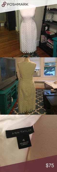 Ann Taylor White Dress Ann Taylor, size 4 white eyelet dress. Zip back closure. Worn only once, great condition, like new. Ann Taylor Dresses Midi