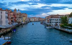 Download wallpapers Venice, Grand Canal, evening, cityscape, Italy, at home