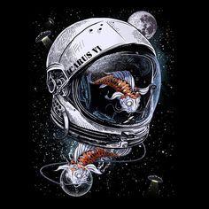 Fish in space astronaut helmet