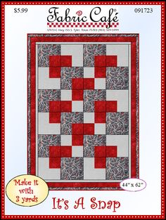 This 3 yard quilt pattern is a Snap and a great lap quilt at 44 x 62 inches. It uses just yard cuts of fabric and with economy in mind, you even have the border and binding as part of that 3 yards.super ideas for yard design tutorialsInspiration no i Patchwork Quilt Patterns, Beginner Quilt Patterns, Quilting For Beginners, Quilt Block Patterns, Quilting Tutorials, Pattern Blocks, Quilting Designs, Quilting Ideas, Hand Quilting