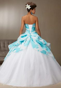 Quinceanera Dress  Vizcaya Morilee 89078 Printed organza ruched skirt over tulle with beading  Colors: White/Turquoise and White/Lilac A back side view