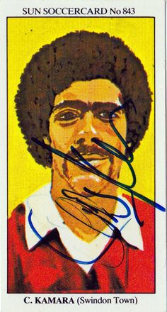 CHRIS KAMARA (Sky Sports reporter) signed 1970s Swindon Town player card by UniquelySporting on Etsy