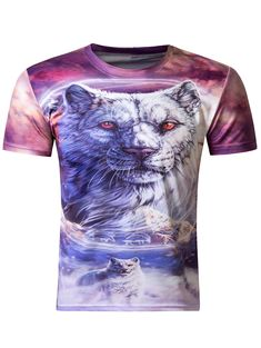 a0494de5d855 Stylish 3D Round Neck White Tiger Print Short Sleeve Men s T-Shirt Tiger T  Shirt