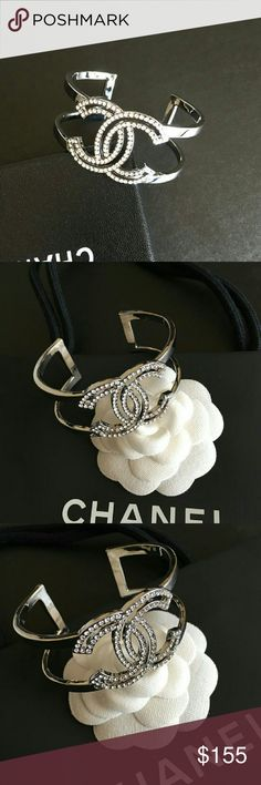 Silver Cuff Open Bracelet Beautiful!! Crystals CC Logo Silver Bracelet, Awesome!  Top Quality, new, comes in Chanel box. CHANEL Jewelry Bracelets