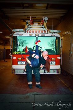 Fireman engagement photo! At his firehouse