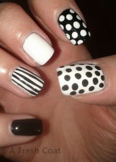 Black & White right Queen Nails, Red Queen, Manicures, Fresh, Black And White, Coat, Hair, Beauty, Nail Salons