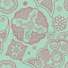 Floriental Blue by Viktoryia Yakubouskaya available as a vector file on patterndesigns.com Vector Pattern, Pattern Design, Mint Green Background, Vector File, Surface Design, Oriental, Fantasy, Floral, Prints