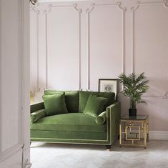 Pale pink walls and olive green sofa in an art deco interior style - My Home Decor Art Deco Interior Living Room, Art Deco Sofa, Art Deco Bedroom, Art Deco Furniture, Furniture Layout, Sofa Furniture, Office Furniture, Interior Office, Velvet Furniture