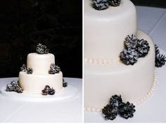 A winter white wedding cake with chocolate pine-cone accents for the perfect winter wedding cake.