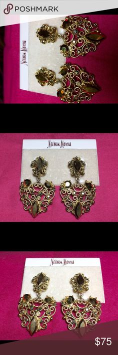 """🎁Vintage Gerard Yosca Earrings🎁 Authentic Vintage Gerard Yosca Designer Costume Jewelry                                     Byzantine filigree gold tone earrings with amber rhinestones.                         Vintage from the 1990's                          Made in the USA                                         2.5"""" long, 1.5"""" wide   Clip-on                     Never Worn                                               🔱🔱🔱🔱🔱🔱🔱🔱🔱🔱🔱🔱🔱…"""
