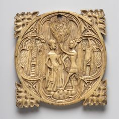 London, The British Museum  1856,0623.106 (Dalton 385)  Ivory  100mm (diameter) x 7mm  61.5g  Courting couple (meeting of lovers); offering of the heart; tree; buildings.   Foliated corner terminals.    Koechlin Number: 1109  Westwood 1876: French, 14th century.  Dalton 1909: French, end of 14th century.  Koechlin 1924: French, end of 14th century.  Randall 1997: North Italian, 1360-1370.  Museum's opinion 2011: North Italian, late 14th century.
