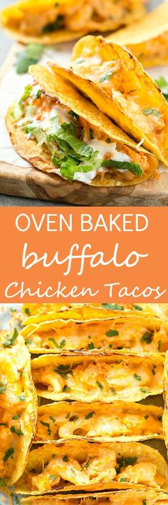 Oven Baked Buffalo Chicken Tacos - These super easy oven baked tacos are loaded with creamy buffalo chicken mixture and then topped with extra shredded cheese! Perfect recipe for taco Tuesday or any day of the week! So much flavor without all of the mess.