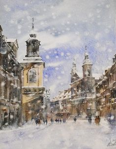 Paul Dmoch, Warsaw in the snow Watercolor City, Watercolor Sketch, Watercolor Artists, Artist Painting, Watercolor Paintings, Colours That Go Together, City Scene, Paul Mitchell, Water Colors