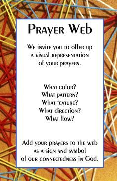 Prayer Web invite; site has directions on how to set up a prayer web; site has faith formation stuff for all ages