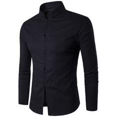 Men Chinese Traditional Cotton Mandarin Collar Business Long Sleeve Shirt