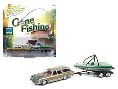 "1973 Chevrolet Caprice Silver Poly with Wood Grain with Boat and Trailer ""Gone Fishing"" 1/64 Diecast Model Car by Johnny Lightning - Brand new 1:64 scale car model of 1973 Chevrolet Caprice Silver Poly with Wood Grain with Boat and Trailer ""Gone Fishing"" die cast car model by Johnny Lightning. Limited Edition to 2004pc. Detailed Interior, Exterior. Metal Body. Comes in a blister pack. Officially Licensed Product. Dimensions Approximately L-6 Inches Long.-Weight: 2. Height: 6. Width: 11. Box…"