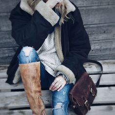 country mood, leather jacket, bedstu, cosy knit, leather jacket, distressed jeans, leather bag, faux fur Leather Bag, Leather Jacket, Distressed Jeans, Cosy, Riding Boots, Faux Fur, Photo And Video, Knitting, Country