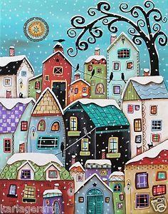 Winter City CANVAS PAINTING Houses Birds Cats 16x20inch FOLK ART Karla Gerard   eBay
