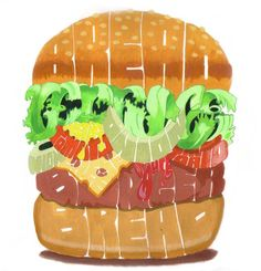 hamburger by artcoholicz.deviantart.com-I love it! I would love this for my kitchen to hang on the wall.