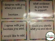 Put accountable talk statements on the wall to remind kids of the expected sentence stems.