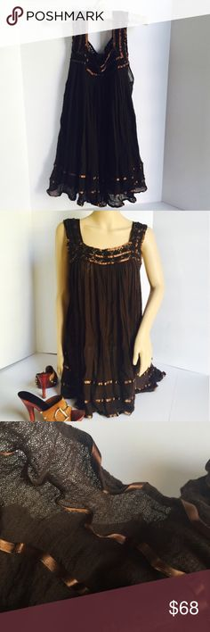 """Jen's Pirate Booty Dark Chocolate Dress - Cover-Up Excellent lightly preloved condition. Beautiful ruffled hem. Dark chocolate brown color. Size tag removed, this is a size small. Mid thigh length on me (5'4""""). Shoulder to hem 30"""". Jen's Pirate Booty Dresses"""