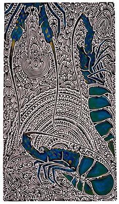 """""""L'expression Kaiyaral Kula renvoie à un rocher du récif rempli de homards de roche. Kaiyaral est le pluriel de Kaiyar et Kula signifie rocher, pierre. La mer et les récifs du détroit de Torres servent de salle de classe pour mon peuple. Nous sommes un peuple voyageur et l'élevage des Kaiyar est devenu une industrie mondiale. #artaborigene #contemporain #australie…"""