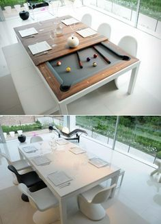 Fusion Pool & Dining Table: It is ready in 60 seconds! Pool Table Dining Table, Pool Table Room, Dining Table Design, Pool Tables, Dream Home Design, House Design, 21st Presents, Basement Bar Designs, Basement Ideas