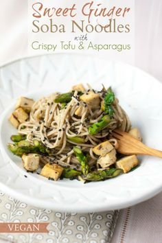 Produce On Parade - Sweet Ginger Soba Noodles + Crispy Tofu & Asparagus
