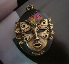 JEWELED MASK LOCKET Unique Very Colorful Jewel by ParadiseFindings, $26.99