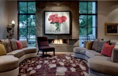 Dealing with furniture that has curved lines such as a curved sofa or sectional in a traditional setting like most living rooms raises a series of Living Room Colors, Living Room Modern, Modern Wall, Living Rooms, Ottoman Furniture, Furniture Design, Canapé Design, Interior Design, Gebogenes Sofa