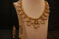 Gutta pusalu Necklace with pearls paired with trendy Earrings - Latest Indian Jewellery Designs India Jewelry, Pearl Jewelry, Wedding Jewelry, Antique Jewelry, Gold Jewelry, Jewelery, Gold Earrings, Light Weight Gold Jewellery, Diamond Jewellery