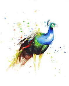 Peacock Boba art Watercolor Painting Art Print