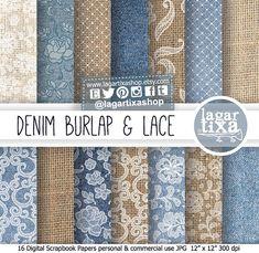 Burlap Digital Paper, Denim, Jeans, white Lace, Rustic, Digital Paper, Vintage, Country, Backgrounds, textures, Textil, fabric, neutrals
