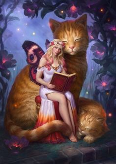 Size is × inches) Professionally printed on high quality glossy photo paper Signed by the artist Shipping for up to 3 prints is the. Fairy Pictures, Photo Chat, Beautiful Fairies, Fairy Art, Cat Drawing, Fantasy Girl, Mythical Creatures, Crazy Cats, Cat Art