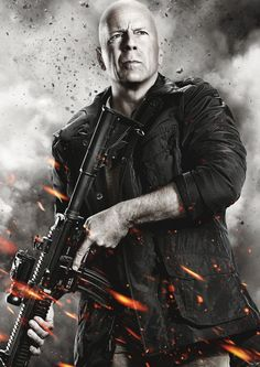 The Expendables 3 Bruce Willis Bruce Willis, Action Movie Poster, Action Movies, All Movies, Great Movies, It Movie Cast, Movie Tv, 2012 Movie, Expendables Movie