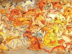 different swamp dragons by Paul Kidby