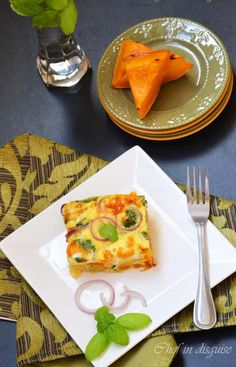 Pumpkin frittata with feta cheese and basil