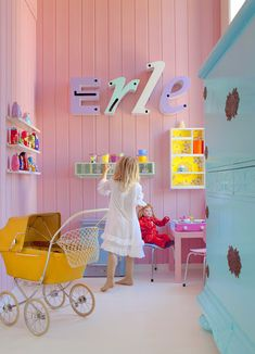 LOVE! Similar colours to D's updated room, except blue on walls, pink and white furniture...