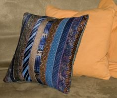 one-of-a-kind cushion made from repurposed necktie ends Old Neck Ties, Old Ties, Mens Ties Crafts, Tie Crafts, Necktie Quilt, Tie Pillows, Creating Keepsakes, Diy Pillow Covers, Memory Pillows