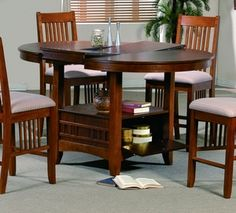 Mission Brown Counter Height Table With Storage and Butterfly Leaf Round with