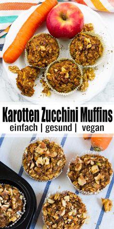 Diese Karotten Zucchini Muffins sind super saftig, angenehm süß und gleichzeitig auch noch gesund. Sie sind perfekt als schneller Snack oder auch als Frühstück zum Mitnehmen. Außerdem sind sie vegan und können auch glutenfrei zubereitet werden. Mehr vegane Rezepte findet ihr auf veganheaven.de! #vegan #vegetarisch