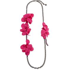 Lanvin Long Crystal Chain Flower Necklace ($890) ❤ liked on Polyvore featuring jewelry, necklaces, fuchsia, crystal jewelry, crystal necklace, lanvin jewelry, fuchsia necklace and flower jewelry